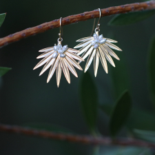 Small Gold Fan Palm Earrings with Pearls Image