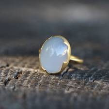 Blue Chalcedony Egg Gold Ring Image