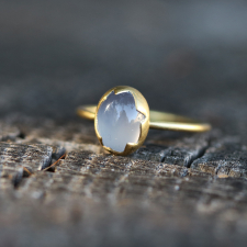 Blue Chalcedony Egg Stacker Gold Ring Image