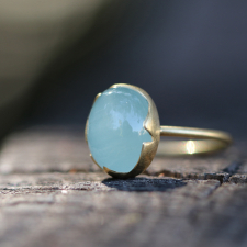 Aquamarine Egg Gold Stacker Ring Image