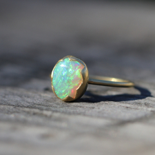 Australian White Opal Egg Stacker Ring Image