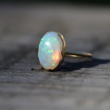 Large Australian White Opal Egg Stacker Ring Image