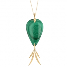 Long Malachite Feather Cluster Necklace Image