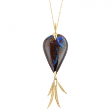 Yowah Opal Bird of Paradise Gold Necklace Image