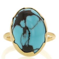 Turquoise 18k Yellow Gold Egg Ring Image