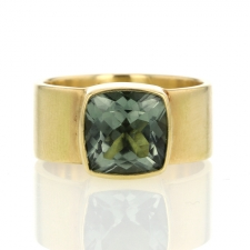 Green Tourmaline Wide Cigar Band Ring Image
