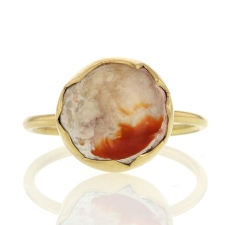 Mexican Opal 18k Yellow Gold Round Ring Image