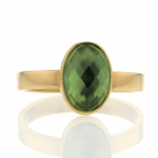 Faceted Oval Green Tourmaline Ring