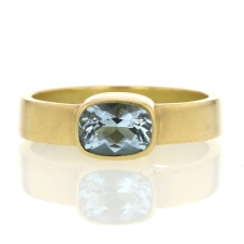 Aquamarine 18k Gold Thin Cigar Band Ring Image