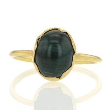 Green Cats Eye Tourmaline Egg Ring
