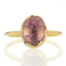 Pink Topaz 18k Gold Egg Ring Image