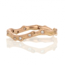 14k Rose Gold Coral Stick Scattered Diamond Ring Image
