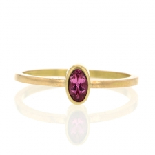 18k Gold Small Pink Tourmaline Oval Ring Image