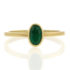 Petite Oval Emerald Gold Ring Image