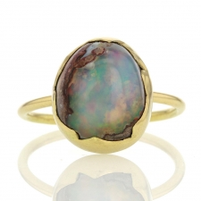 Mexican Matrix Opal Egg 18k Gold Ring Image