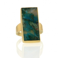 Chrysocolla 18k Rectangular Ring Image