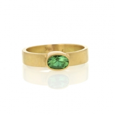 Afgan Green Tourmaline Thin Cigar Band Ring Image