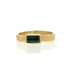 Green Tourmaline Thin Cigar Band Gold Ring Image