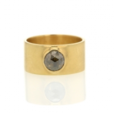 Round Smokey Rose Cut Diamond Cigar Band Ring Image