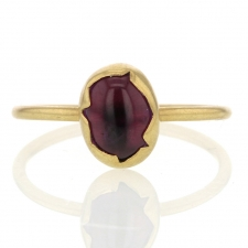 Rubelite Tourmaline Egg 18K Gold Ring Image