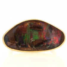 Horizontally set Boulder Opal 18k Gold Ring Image