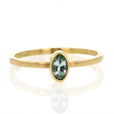 Oval Blue Green Tourmaline 18k Gold Ring Image