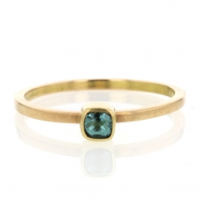 Blue Green Faceted Tourmaline Square 18k Gold Ring Image