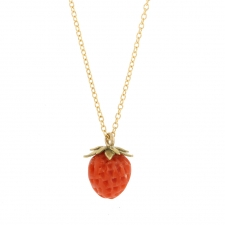 Coral Strawberry 18k Necklace 1 Image