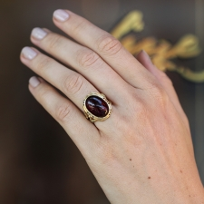 Red Tourmaline Gold Branch Ring with Black Diamonds Image
