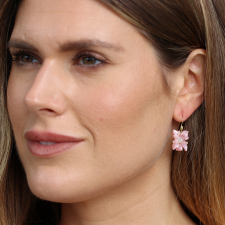 Pink Mother of Pearl Violet Blossom Earrings Image