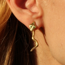 Gold Swinging Snake Earrings Image