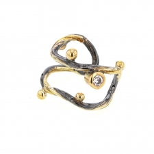 Oxidized Silver and Gold Ear Cuff with Diamond Image