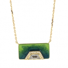Diamond Hex Halo Ombre Enamel Necklace Image