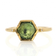 Hexagon Gold Green Tourmaline Ring Image