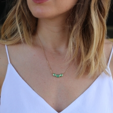 Triple Emerald Orbit Gold Necklace Image