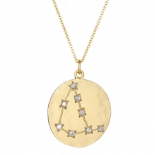 Capricorn 14k Gold Diamond Constellation Astrology Necklace Image