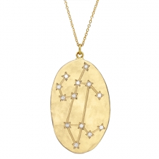 Leo 14k Gold Diamond Constellation Astrology Necklace Image