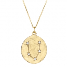 Pisces 14k Gold Diamond Constellation Astrology Necklace Image