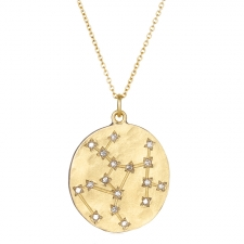 Sagittarius 14k Gold Diamond Constellation Astrology Necklace Image