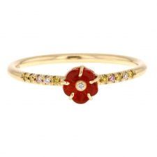 Blossom Fire Opal Diamond Band 18k Gold Ring Image