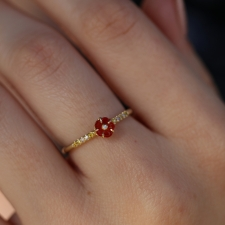 Blossom Fire Opal Diamond Band 18k Gold Ring
