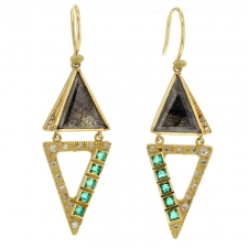 Nefertiti Diamond Emerald Earrings