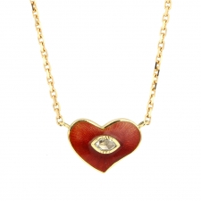 Enamel Red Heart Diamond Necklace Image