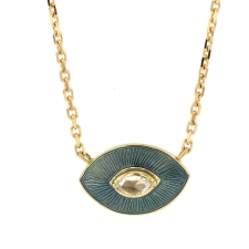 Talisman Petrol Enamel Diamond Necklace Image