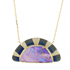 Sunrise Boulder Opal Enamel Diamond Necklace Image