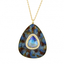Opal Enamel Peacock Necklace Image