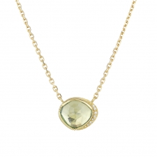 Aquamarine 18k Gold Diamond Halo Necklace Image