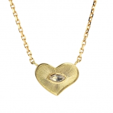 Engraved Heart 18k Gold Diamond Necklace