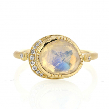 Orbit Rainbow Moonstone Ring with Diamond Halo Image