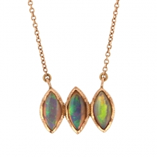 Triple Boulder Opal Marquise Rose Gold Necklace Image